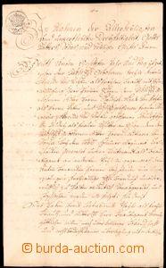 64168 - 1764 HABSBURSKÁ MONARCHIE / PRAHA  smluvní listina, psáno ně