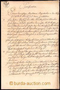 64169 - 1750 RAKOUSKO / OLOMOUC  notářský spis, Olomouc, psáno němec