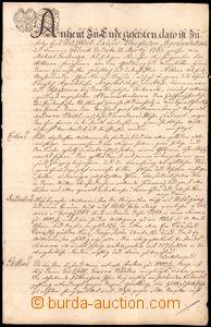 64176 - 1767 document with nice kaligrafickým head, written in Germa