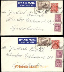 64184 - 1946 comp. 2 pcs of postal stationery covers 4c red, sent by