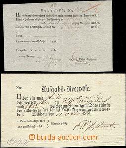 64189 - 1808-20 sestava 2ks recepisů Vyškov, Olomouc, různý pap�