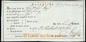 64193 - 1842 recepis, řádkové razítko M. Neustadtl (Nové Město