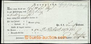 64193 - 1842 receipt, straight line postmark M. Neustadtl (Nové Mě