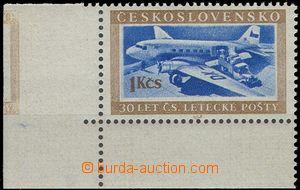 64240 - 1953 Pof.767 DO, levý dolní rohový kus s otiskem molety v