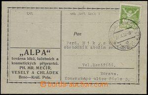 64287 - 1922 lístek s přítiskem firmy Josef Veselý vyfr. zn. OR