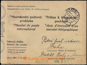 64327 - 1942 official forerunner Czechosl. form/blank envelope on/fo