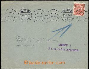 64344 - 1938 tiskopis adresovaný na PP č.32, vráceno zpět s řá