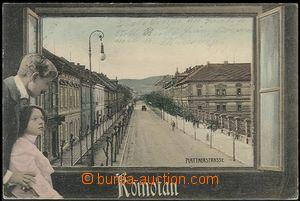 64410 - 1905 Chomutov,  kolorovaná koláž pohled z okna na ulici Plat