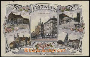 64413 - 1909 Chomutov,  5-view color collage in the middle Kaiser Jo