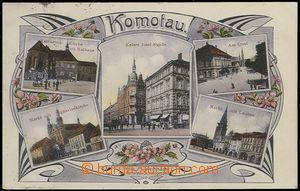 64413 - 1909 Chomutov,  5-okénková barevná koláž uprostřed Kaiser Jo