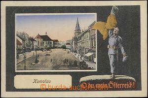 64416 - 1915 Chomutov,  barevná koláž, náměstí s vojákem O du mein Ö