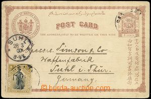 64453 - 1900 PC Asch.2 with uprated by. stmp SG.66, to Germany, wors