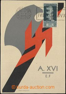 64487 - 1938 Italian fascistic symbol with swastika, issued to visit