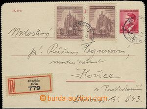 64498 - 1945 CZL5 without margins, sent as Reg, uprated with stamp P