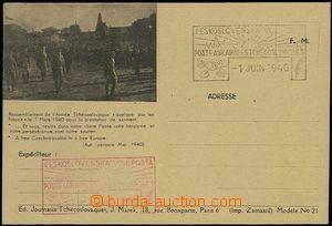 64500 - 1940 lístek PP čs. jednotek ve Francii s přítiskem, čis