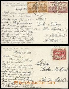 64552 - 1918-19 2x postcard sent from Necpalů, 1x with Hungarian Re