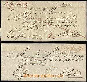 64563 - 1770-80 2ks předznámkových ex offo skládaných dopisů z