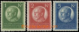 64578 - 1924 Mi.156-158 King Gustav V., highest value, light hint of