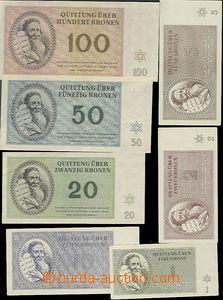 64592 - 1943 KT TEREZÍN  kompletní sada 7ks bankovek KT Terezín 1K-1