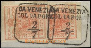 64611 - 1850 Mi.3, issue I, 2 pcs of on small cut-square, both wide