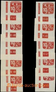 64619 - 1945 Pof.NV24, 10h red, kompletní(!) comp. 10 pcs of L corn