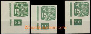 64620 - 1945 Pof.NV25, 15h green, comp. 3 pcs of L corner pieces wit
