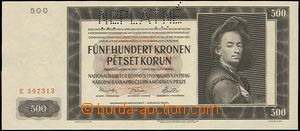 64637 - 1942 BOHEMIA-MORAVIA  bank-note 500K, Ba.35, cancelled INVAL