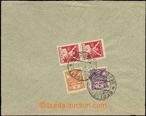 64665 - 1921 letter to Austria franked on back side stamps Pof.143,
