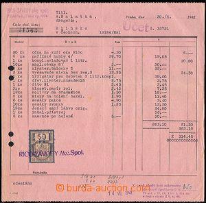 64692 - 1942 KOLKY  účet závodů RICO Praha s protektorátním ko