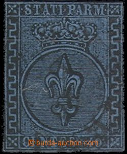 64723 - 1852 ITALY / Parma  Mi.5b Coat of arms, close margin, light