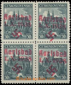64786 - 1938 KARLSBAD Mi.63, block of four with red overprint, c.v..