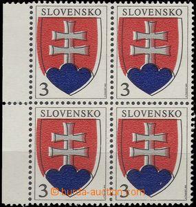 64792 - 1993 Zsf.2, Malý státní znak, 4-blok s levým okrajem, posun