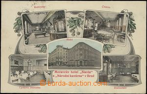 64821 - 1908 Brno - hotel Slavia and National café, 5-view collage