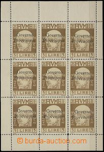 64878 - 1921 Mi.127, 9 pcs of printing sheet stmp with overprint., c