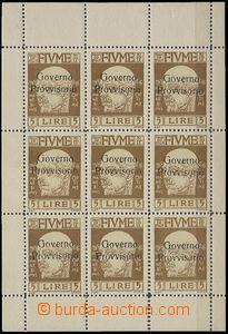 64878 - 1921 Mi.127, 9ks tiskový list přetiskové zn., kat. 315€