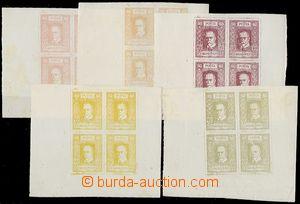 64968 - 1918? 5x 4-blok obtahů návrhů čsl. známek, (patrně tis