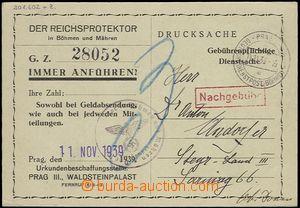 64978 - 1939 service receipt Empire protector in Bohemia-Moravia (pr