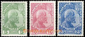 64988 - 1912 Mi.1-3 Kníže Johann II., výborná kvalita, kat. ANK