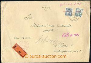 64999 - 1945 Rýnovice, cenný dopis vyfr. zn. 5K a 10K, vylámané