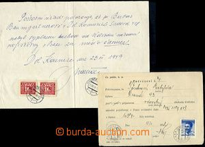 65008 - 1949-52 certificate of rent, comp. 2 pcs of, 1x provisional