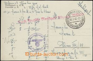 65054 - 1942 postcard transported German Service Post Bohemia and Mo