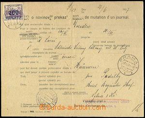 65059 - 1927 Žádost o novinovém překazu (tisk č.142) na 2Kč za