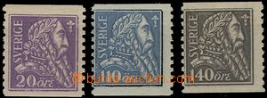 65096 - 1921 Mi.141-143 King Gustaf Wasa, set. line, mint never hing