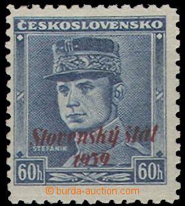 65170 - 1939 Alb.11 overprint, blue Štefánik, mint never hinged, exp