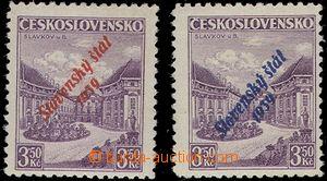65171 - 1939 Alb.19a+b přetiskové Slavkov, u modrého přetisku dr