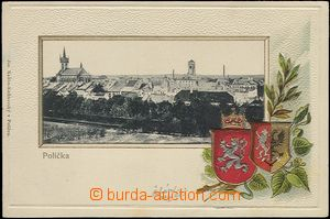 65196 - 1905 Polička - collage, coats of arms, embossed, gilt; long