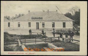 65203 - 1910 Litovel - coaching inn, grade crossing, people; Us, ver