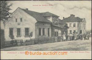 65211 - 1910 Proskovice - obchod, škola, lidé; nepoužitá, lehké skvr