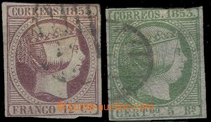 65285 - 1853 Mi.18+20 Queen Isabela II., irregular margins, hinge /