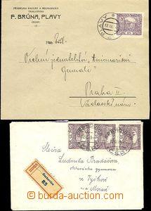 65306 - 1919 2ks dopisů vyfr. zn. 25h fialová, 1x R vyfr. 3 ks zn.